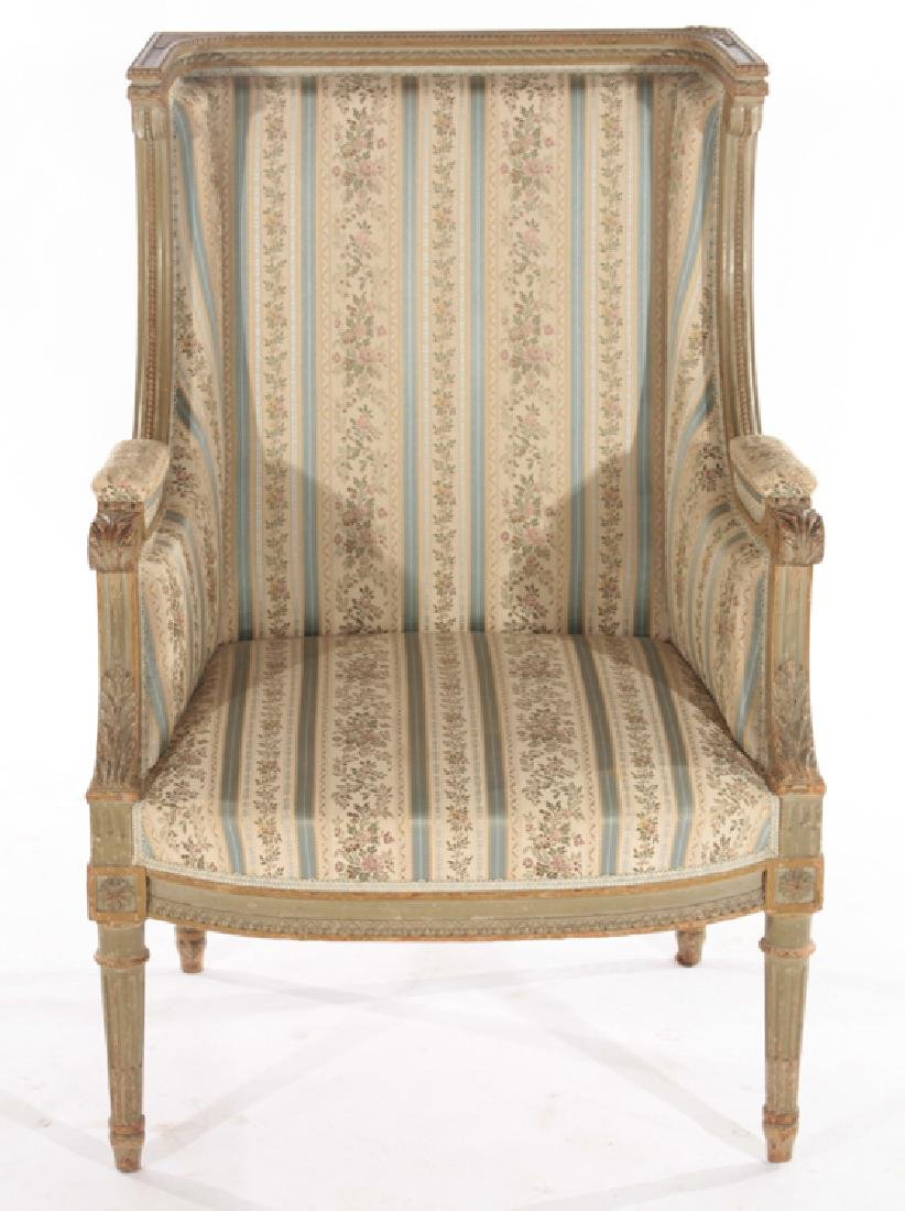 PAIR FRENCH LOUIS XVI STYLE CARVED BERGERES 1940 - 3