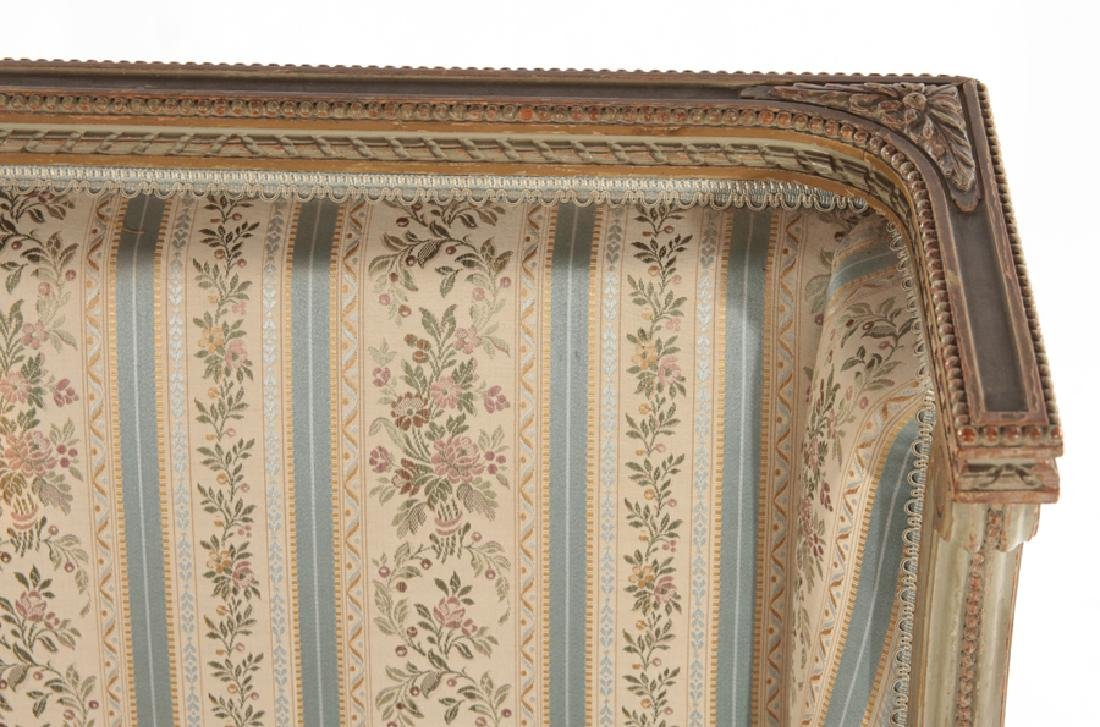 PAIR FRENCH LOUIS XVI STYLE CARVED BERGERES 1940 - 4