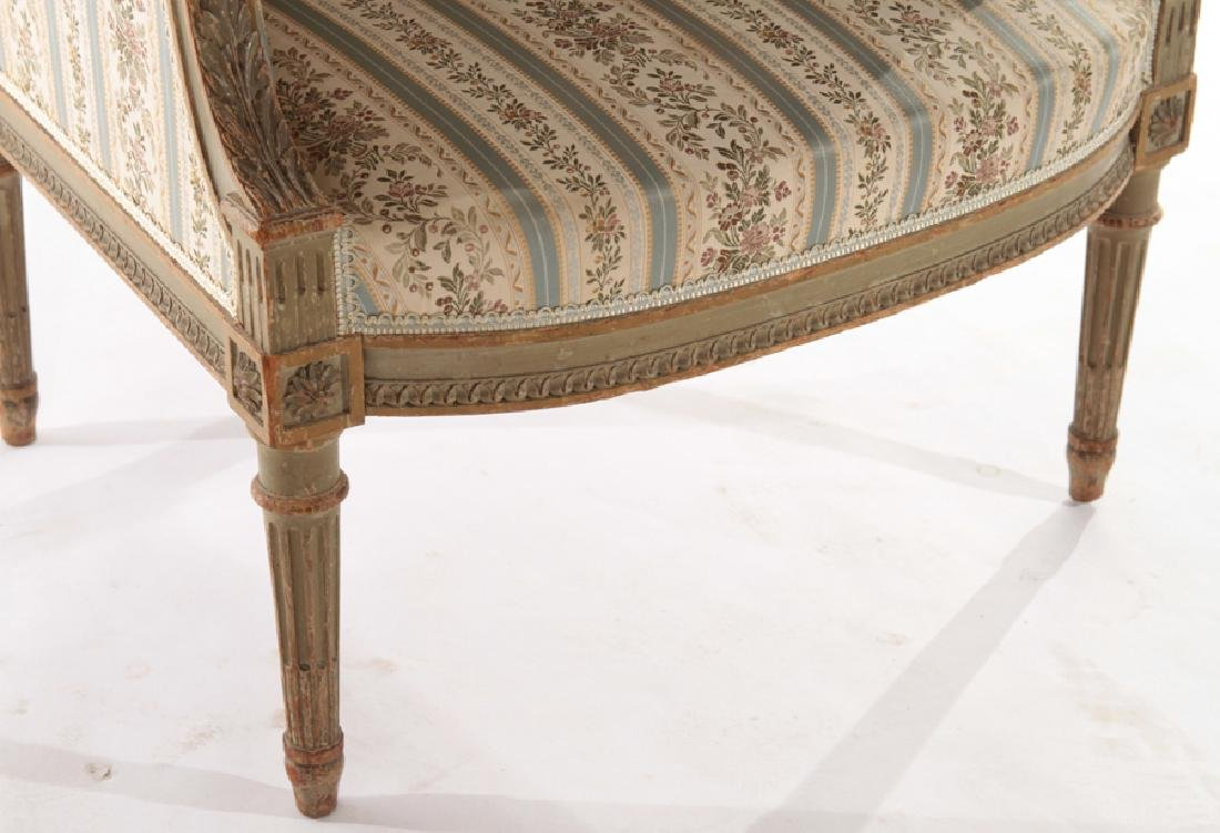 PAIR FRENCH LOUIS XVI STYLE CARVED BERGERES 1940 - 6