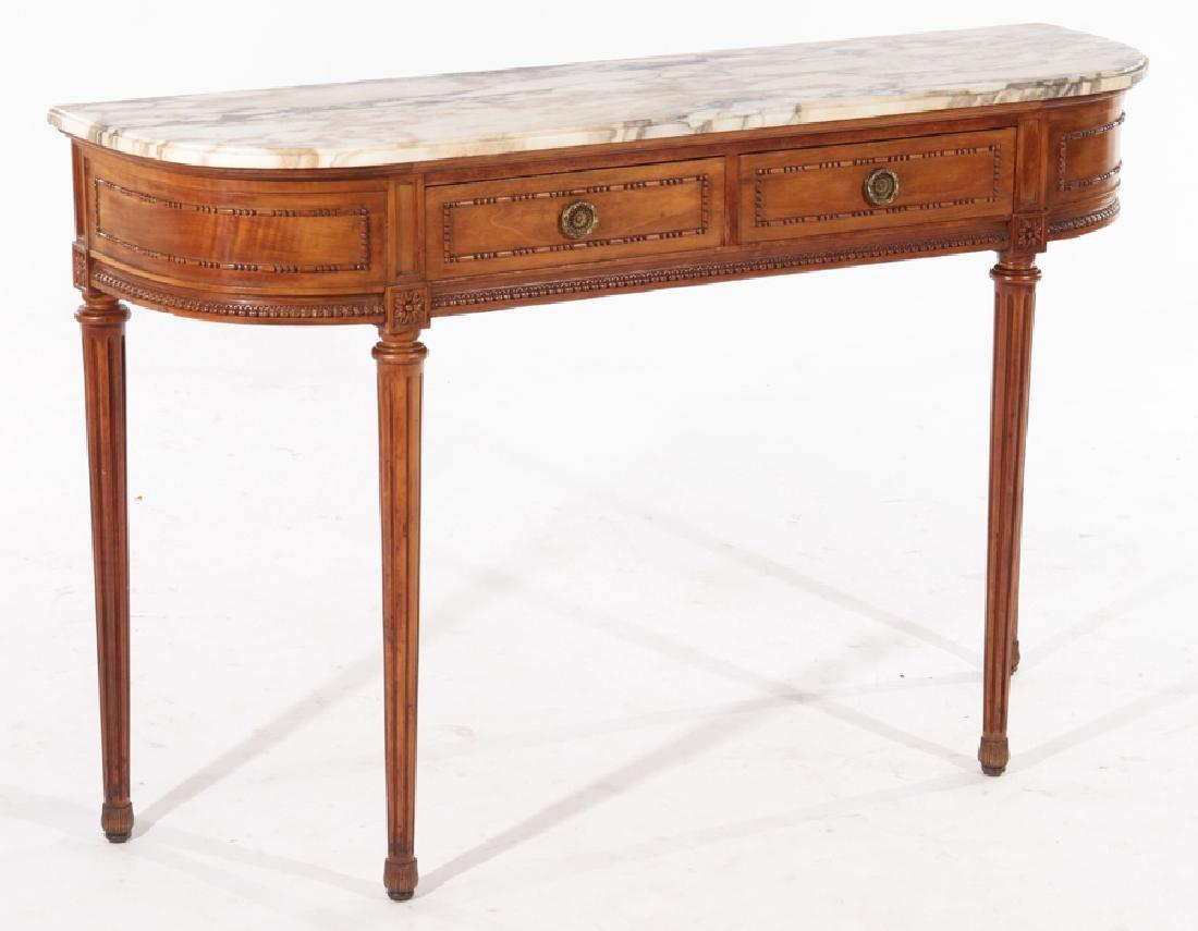 LOUIS XVI STYLE CONSOLE TABLE DEMILUNE TOP C.1940