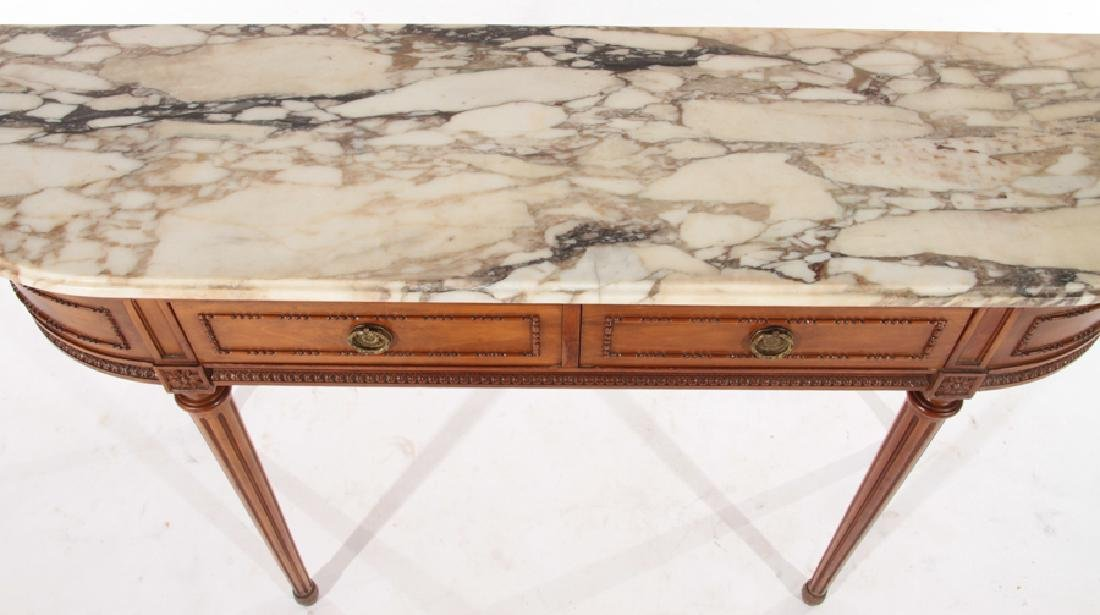 LOUIS XVI STYLE CONSOLE TABLE DEMILUNE TOP C.1940 - 3