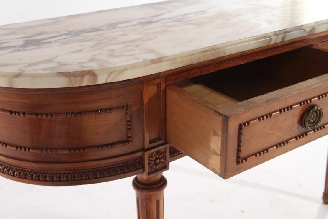 LOUIS XVI STYLE CONSOLE TABLE DEMILUNE TOP C.1940 - 4