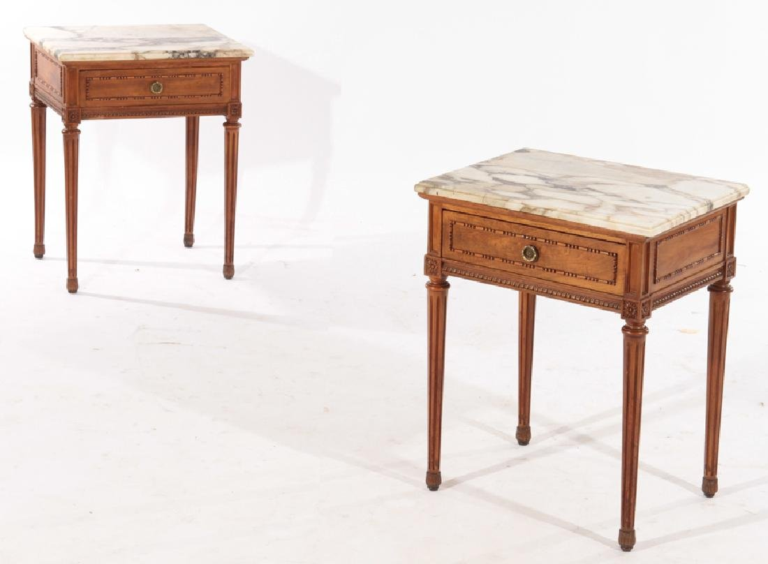 PAIR LOUIS XVI STYLE END TABLES MARBLE TOP C.1940