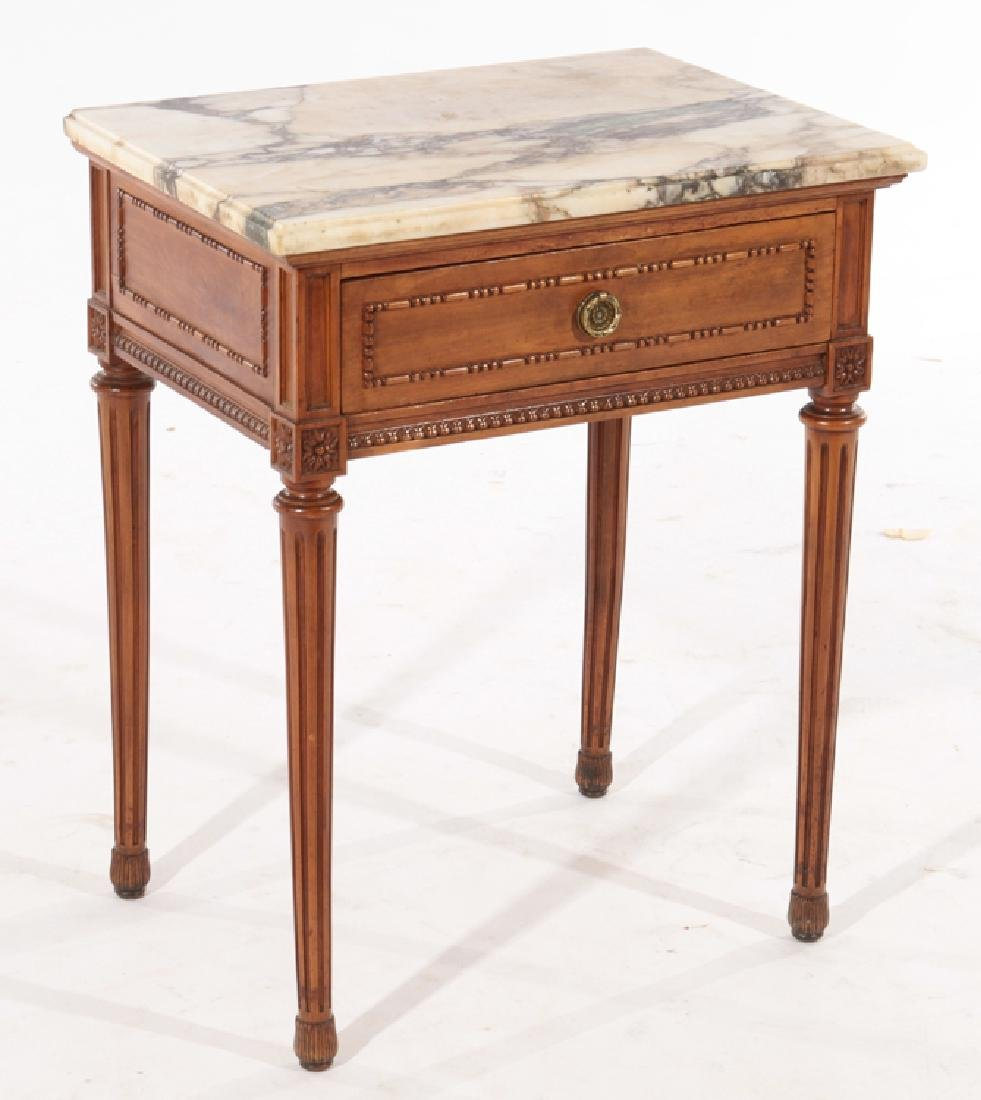 PAIR LOUIS XVI STYLE END TABLES MARBLE TOP C.1940 - 2