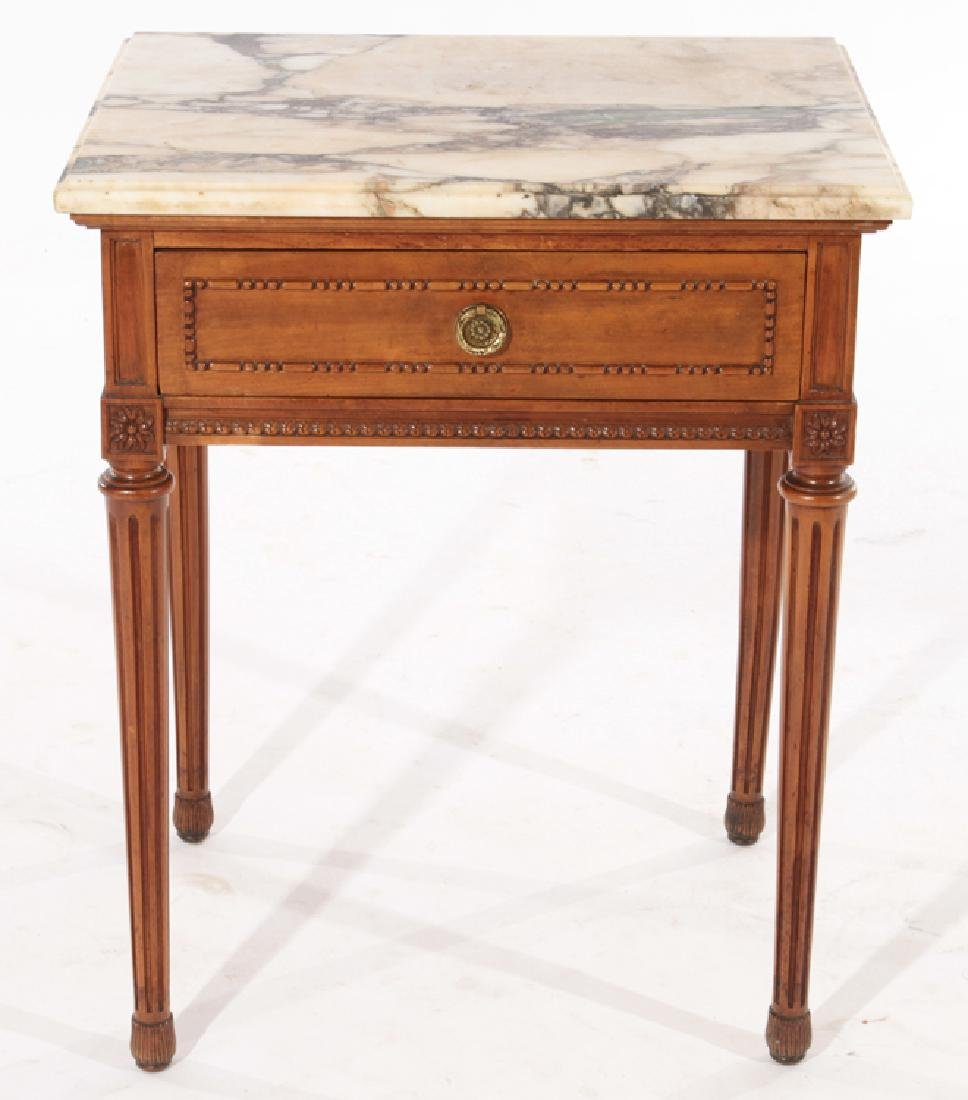 PAIR LOUIS XVI STYLE END TABLES MARBLE TOP C.1940 - 3