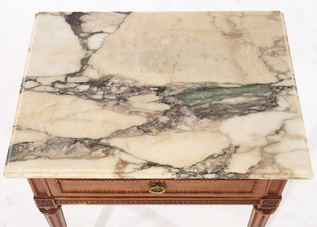PAIR LOUIS XVI STYLE END TABLES MARBLE TOP C.1940 - 4