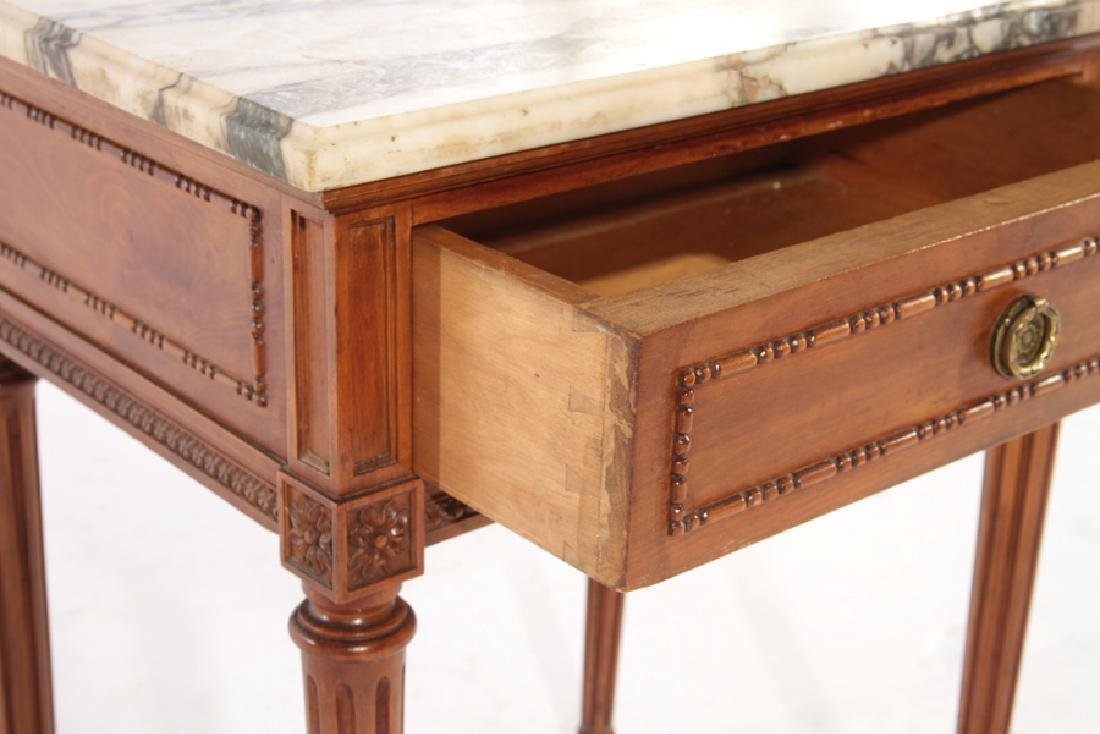 PAIR LOUIS XVI STYLE END TABLES MARBLE TOP C.1940 - 5