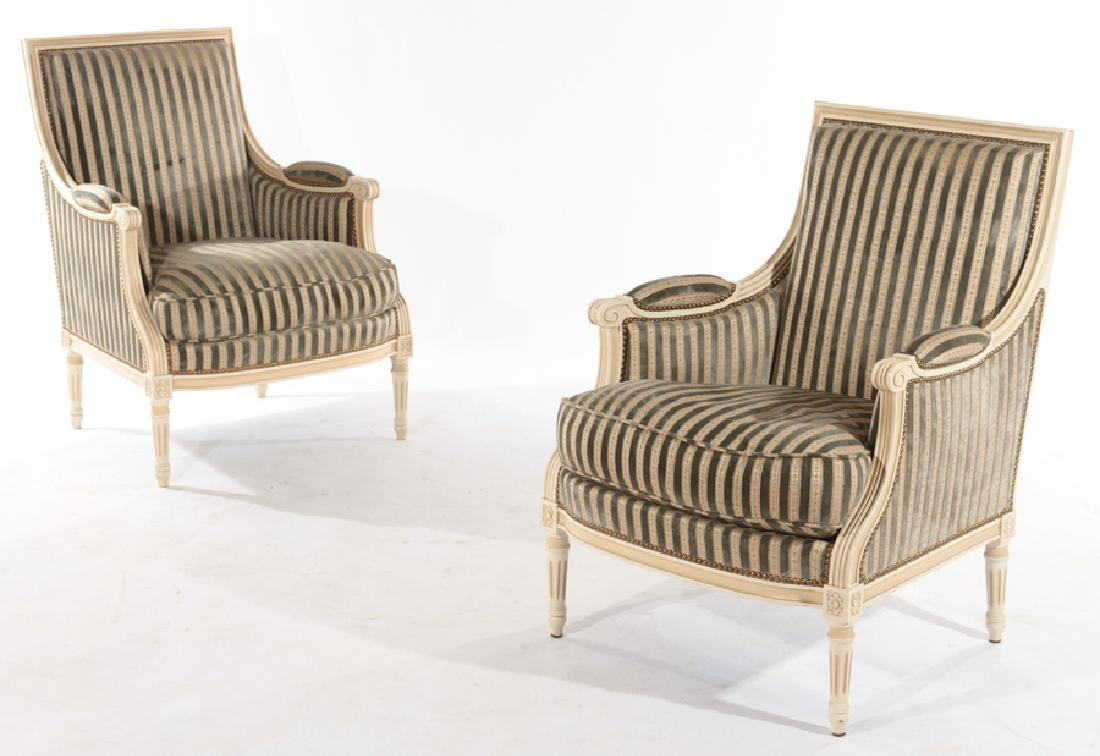 PAIR PAINTED LOUIS XV UPHOLSTERED BERGERE CHAIRS