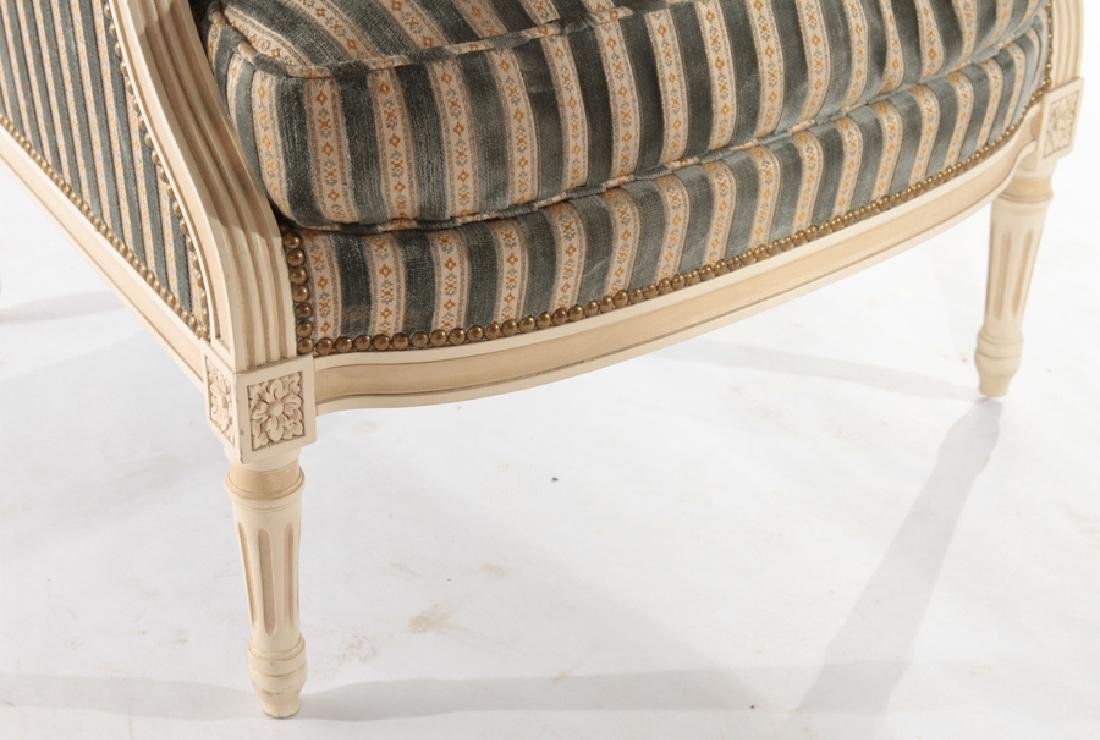 PAIR PAINTED LOUIS XV UPHOLSTERED BERGERE CHAIRS - 5