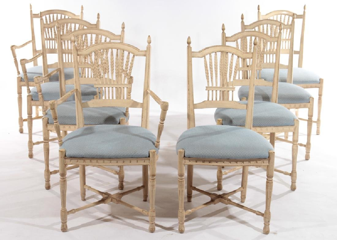 SET OF 8 CARVED AND PAINTED DINING CHAIRS