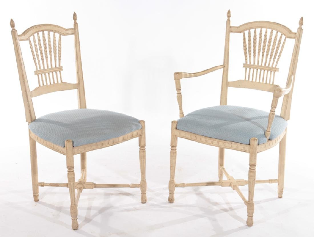 SET OF 8 CARVED AND PAINTED DINING CHAIRS - 2