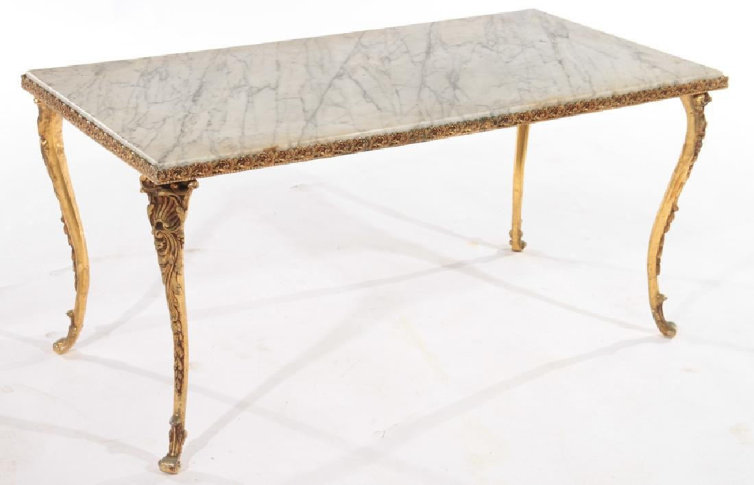 FRENCH BRONZE COFFEE TABLE MARBLE TOP C.1960