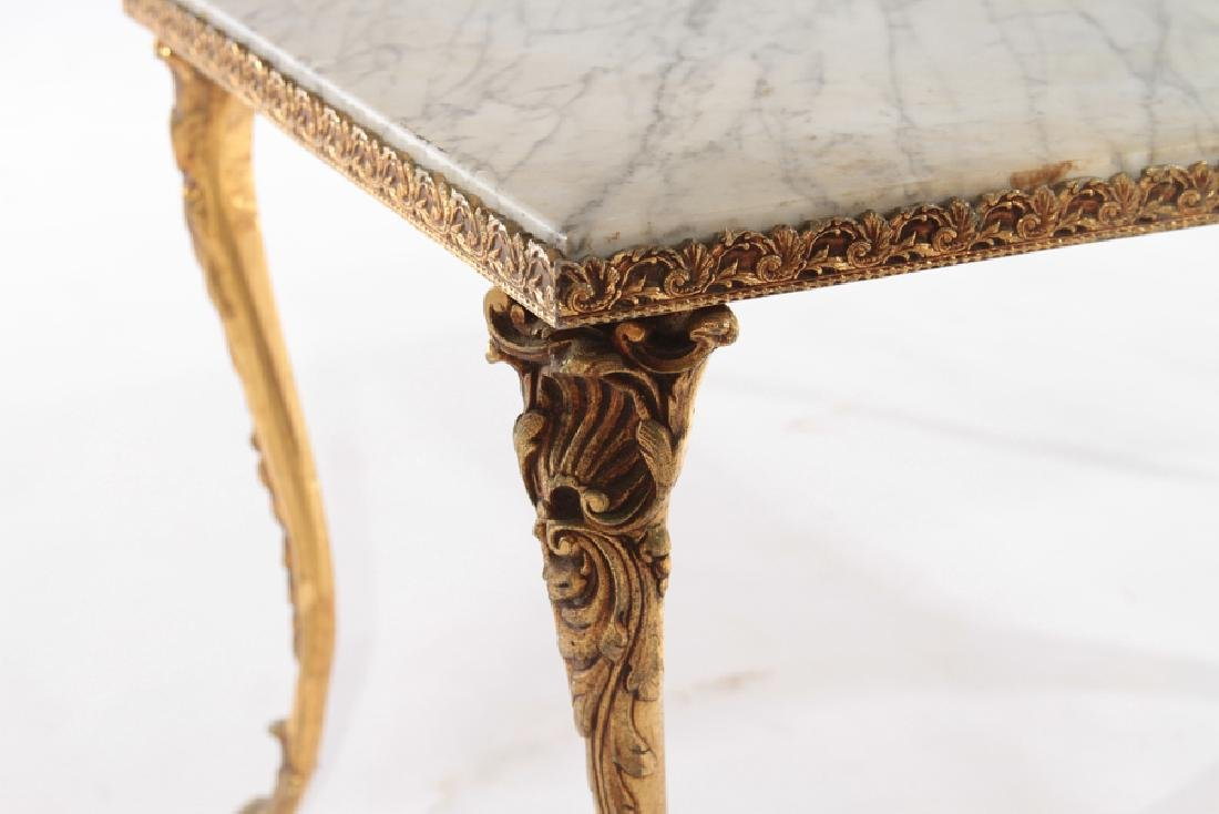 FRENCH BRONZE COFFEE TABLE MARBLE TOP C.1960 - 4