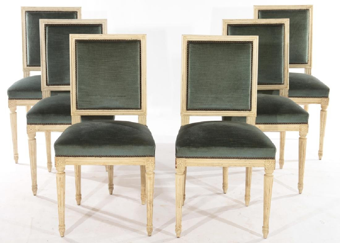 SIX LOUIS XVI STYLE DINING CHAIRS C.1940