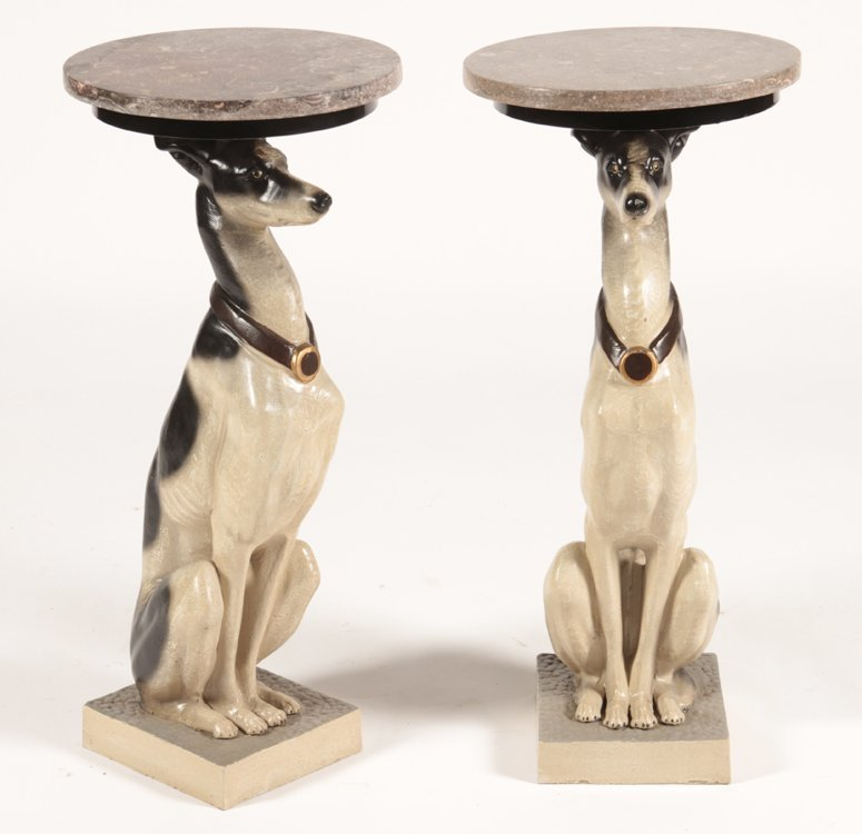 PAIR CAST IRON SEATED WHIPPET DRINKS/SIDES TABLES