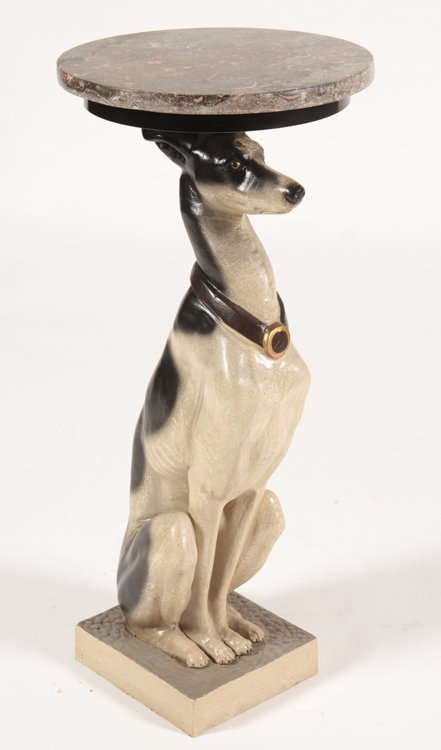 PAIR CAST IRON SEATED WHIPPET DRINKS/SIDES TABLES - 2