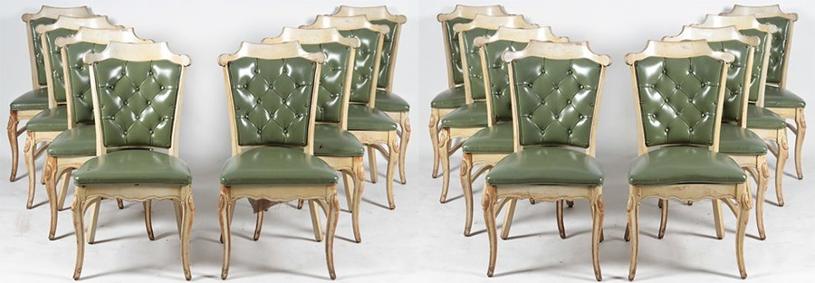 SET OF 16 CARVED DINING CHAIRS C.1960