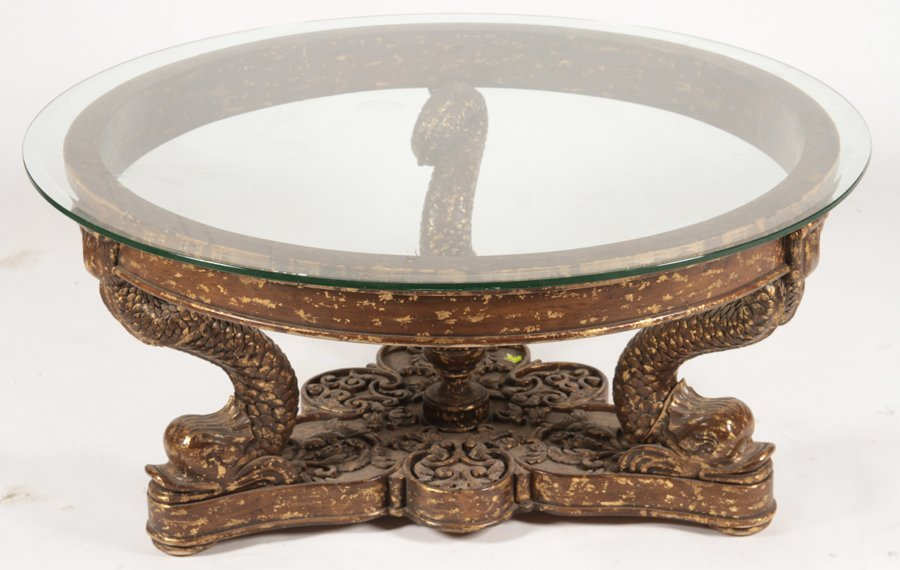 CONTINENTAL GILTWOOD CARVED COFFEE TABLE 1960