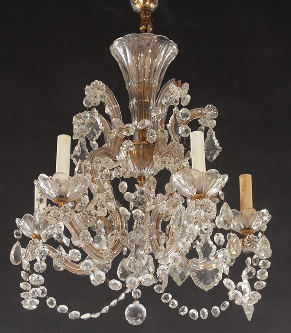 GLASS AND BRASS 5 ARM CHANDELIER