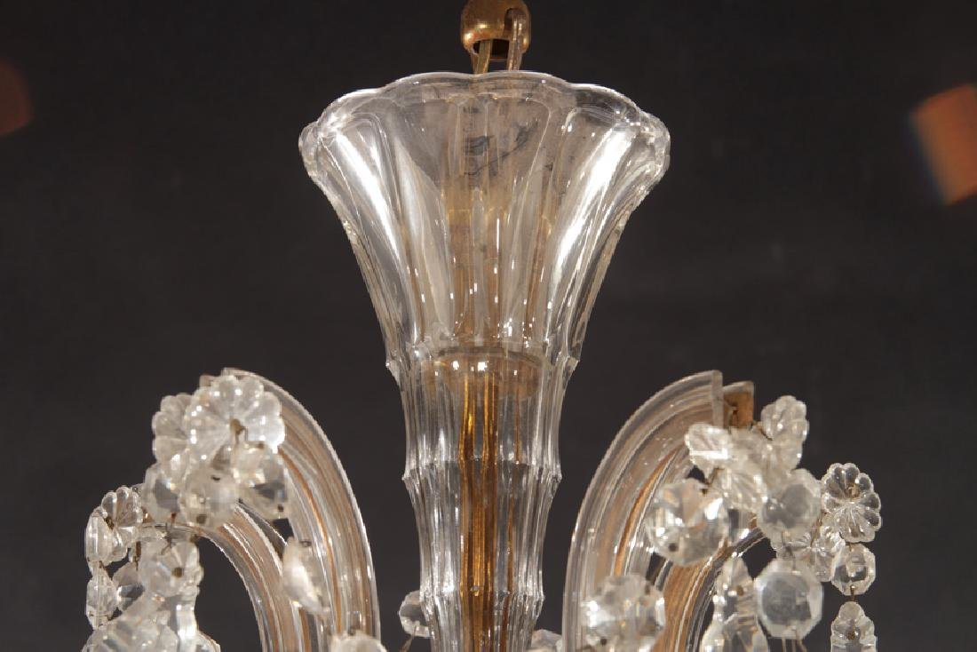 GLASS AND BRASS 5 ARM CHANDELIER - 3
