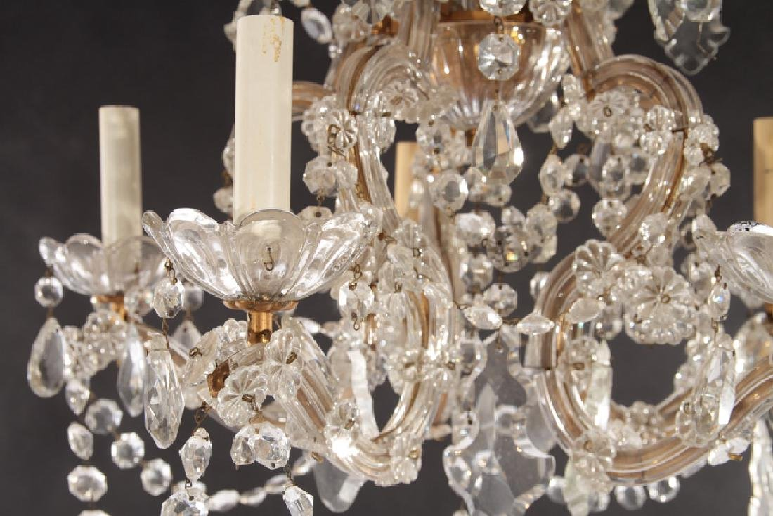 GLASS AND BRASS 5 ARM CHANDELIER - 4