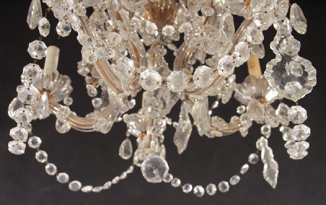 GLASS AND BRASS 5 ARM CHANDELIER - 5