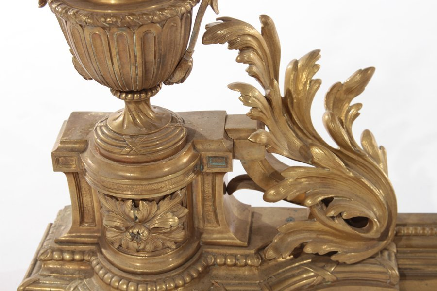 PAIR OF FRENCH NEOCLASSICAL BRONZE CHENETS C.1900 - 3