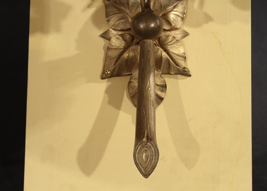PAIR OF BRONZE FLORAL AND LEAF DECORATED SCONCES - 5