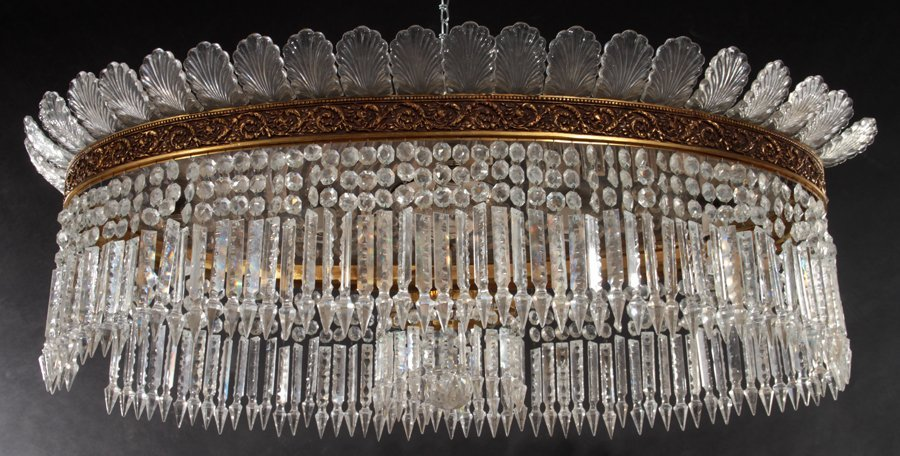 OVAL BRONZE AND CRYSTAL CHANDELIER CIRCA 1940