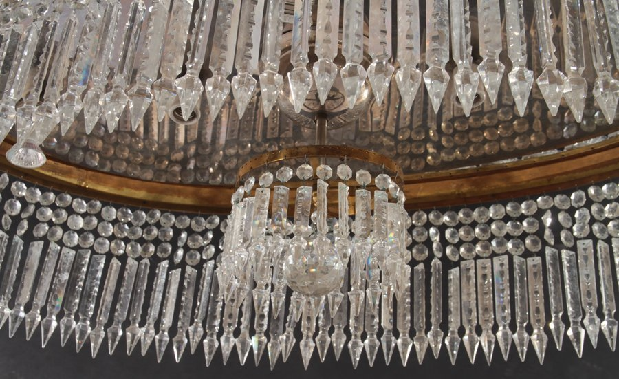 OVAL BRONZE AND CRYSTAL CHANDELIER CIRCA 1940 - 4