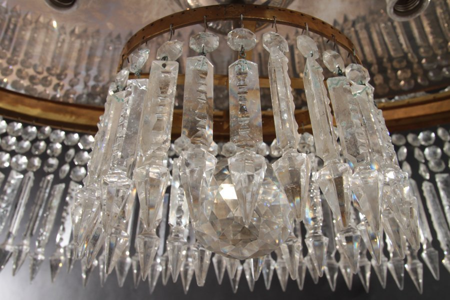 OVAL BRONZE AND CRYSTAL CHANDELIER CIRCA 1940 - 5