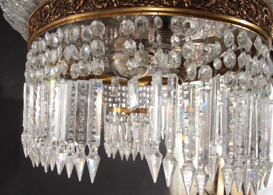 OVAL BRONZE AND CRYSTAL CHANDELIER CIRCA 1940 - 6