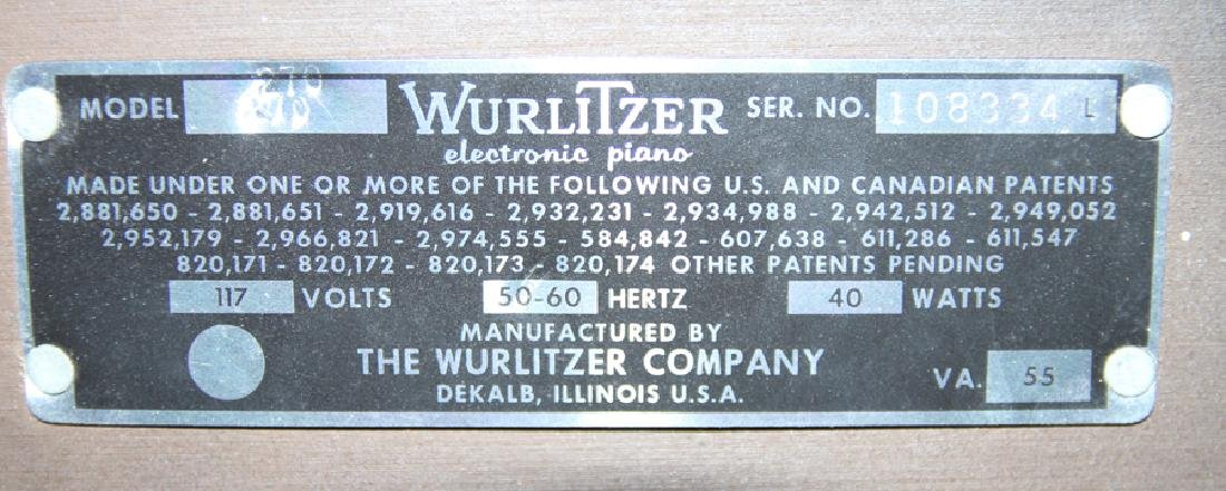 LABELED WURTLIZER ELECTIC PIANO WITH BENCH - 11