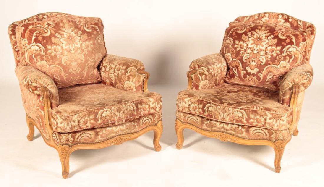 pair french louis xv bergere chairs