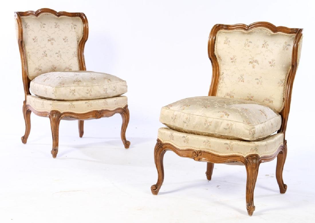 PAIR LOUIS XV UPHOLSTERED BOUDOIR CHAIRS 1920