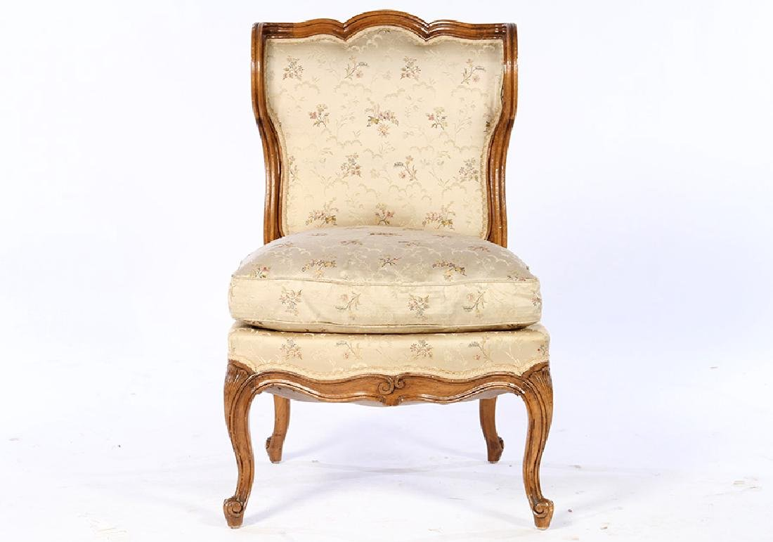 PAIR LOUIS XV UPHOLSTERED BOUDOIR CHAIRS 1920 - 2