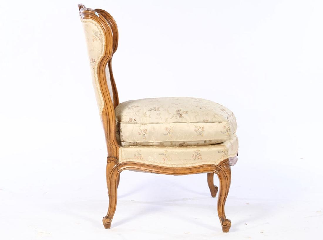 PAIR LOUIS XV UPHOLSTERED BOUDOIR CHAIRS 1920 - 3