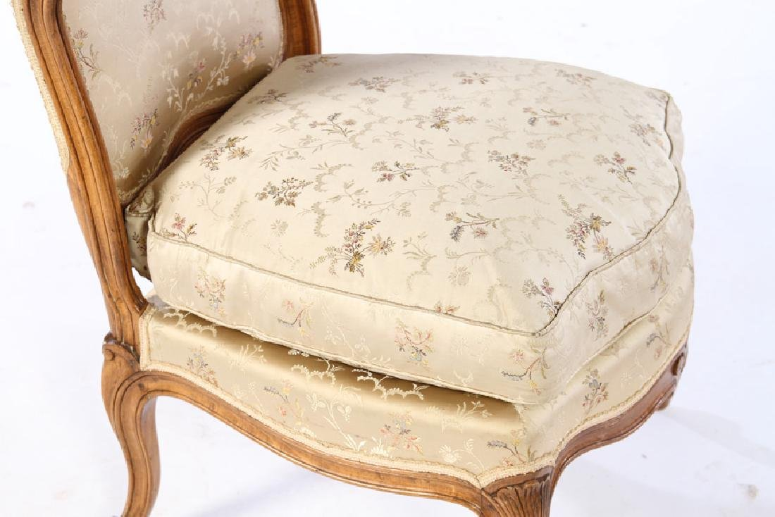 PAIR LOUIS XV UPHOLSTERED BOUDOIR CHAIRS 1920 - 4