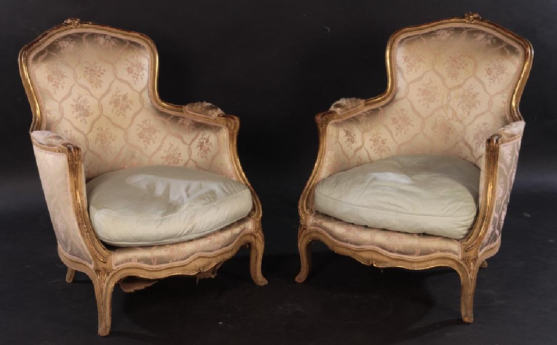 PAIR 19TH CENT. FRENCH LOUIS XV GILTWOOD BERGERES