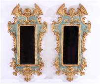 PAIR ITALIAN GILTWOOD CARVED PAINTED MIRRORS