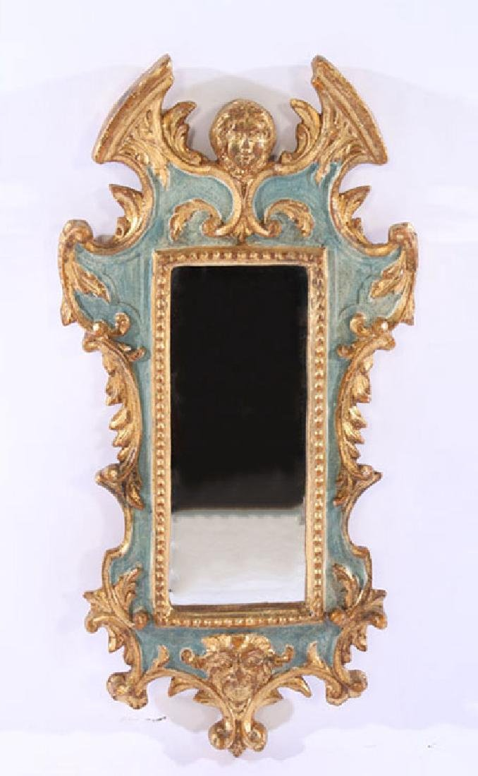 PAIR ITALIAN GILTWOOD CARVED PAINTED MIRRORS - 2