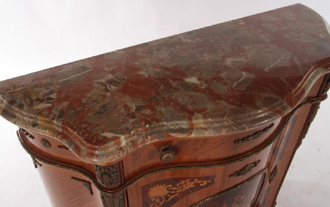 SERPENTINE FRONT CABINET SHAPED MARBLE TOP - 3