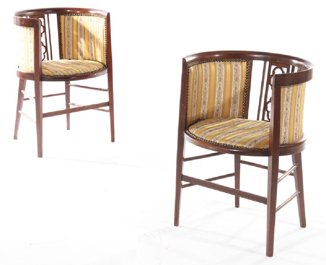 PAIR EDWARDIAN MAHOGANY ARM CHAIRS 1920