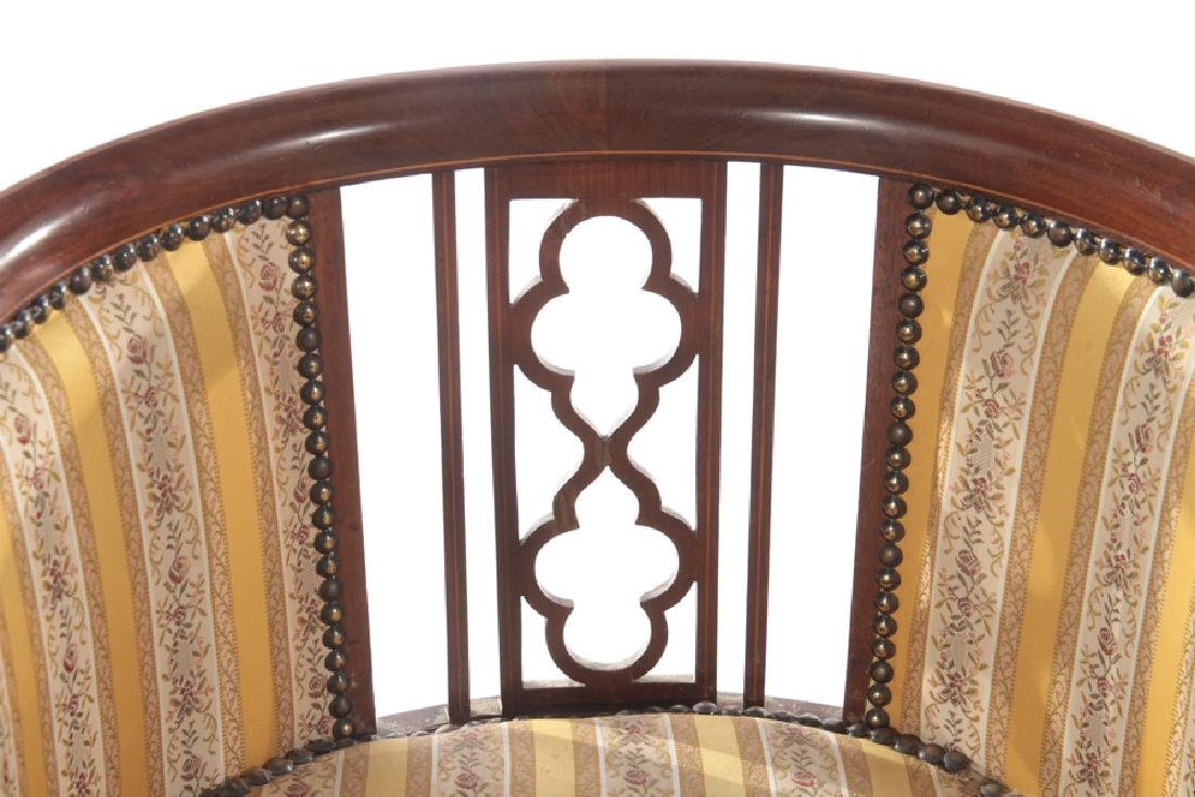 PAIR EDWARDIAN MAHOGANY ARM CHAIRS 1920 - 4