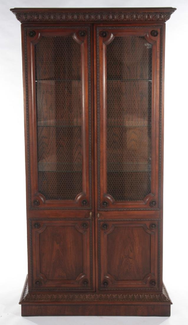 LABELED BAKER BOOKCASE WITH 2 GLASS FRONT DOORS