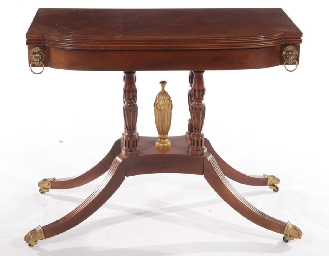 LABELED BAKER MAHOGANY GEORGE III FLIP TOP TABLE - 2