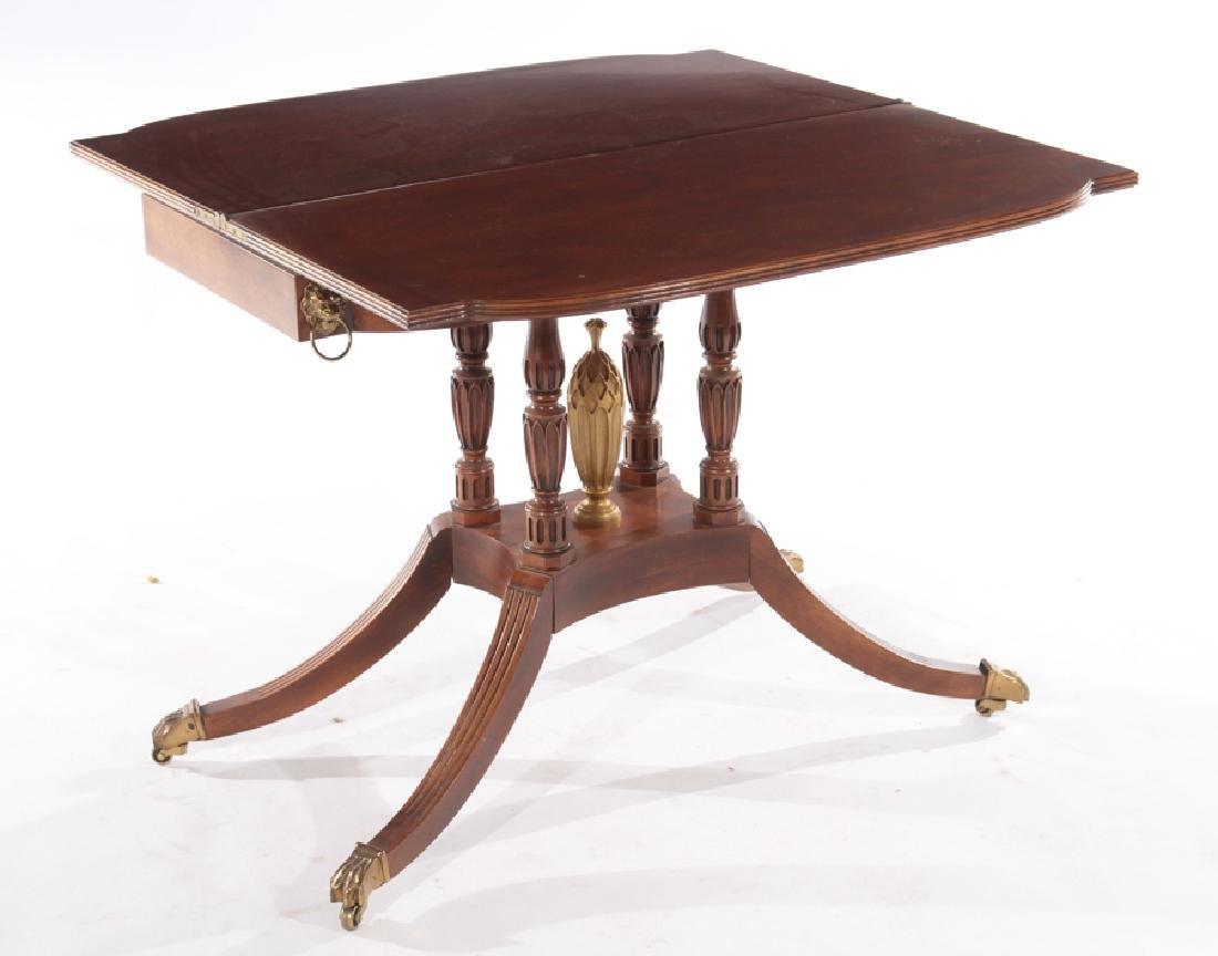 LABELED BAKER MAHOGANY GEORGE III FLIP TOP TABLE - 3