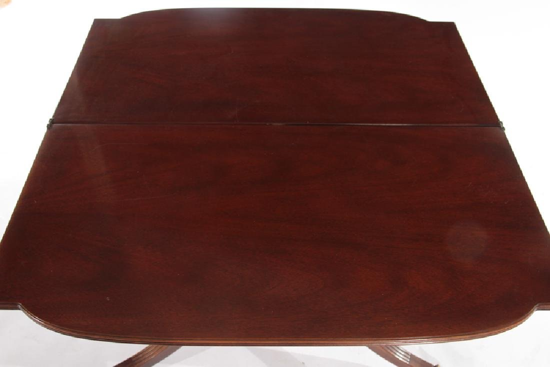 LABELED BAKER MAHOGANY GEORGE III FLIP TOP TABLE - 4