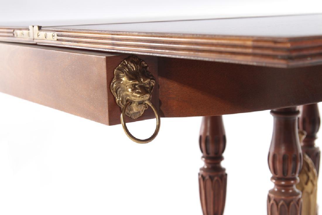 LABELED BAKER MAHOGANY GEORGE III FLIP TOP TABLE - 5