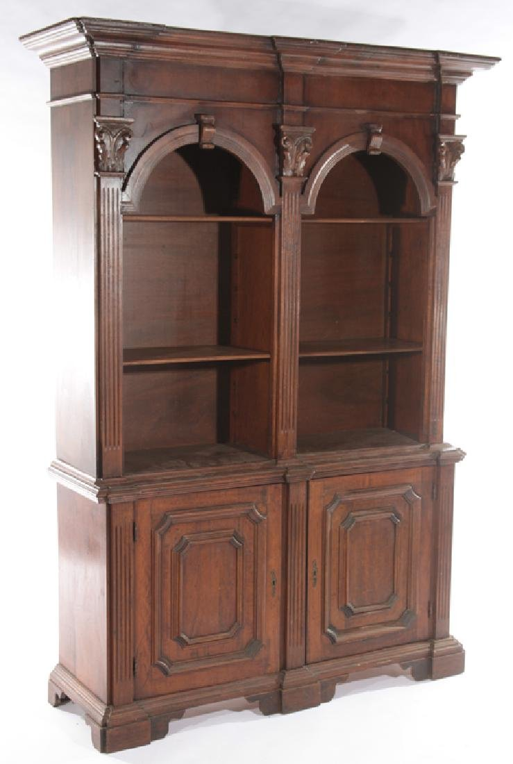 A CARVED WOOD 2-PART BOOKCASE ITALIAN - 2